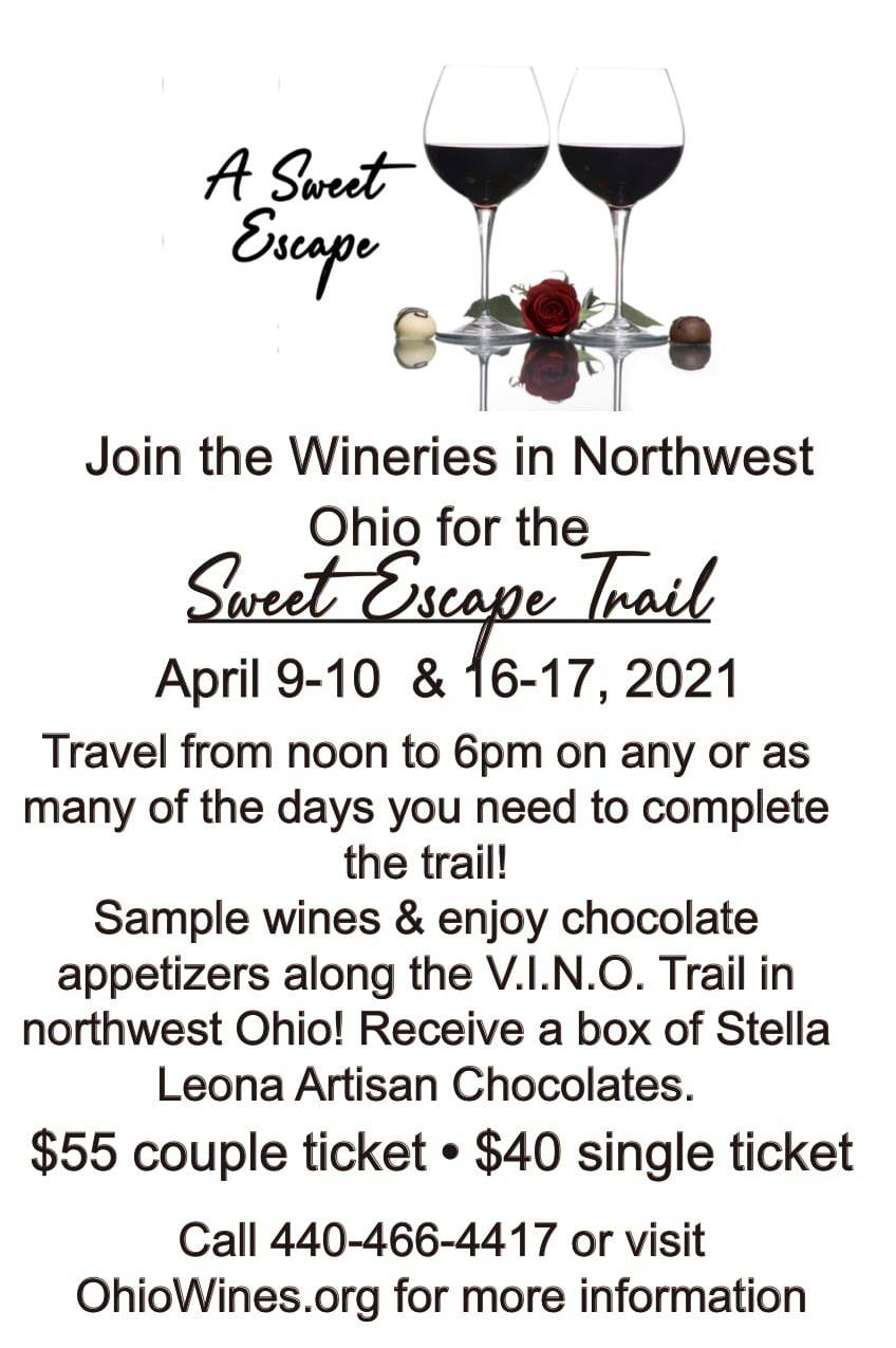 A sweet Escape, Travel the V.I.N.O. Trail, Northwest ohio.  https://www.ohiowines.org/